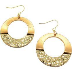 Bay Studio Gold Tone Glitter Open Ring Drop Earrin