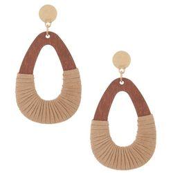 Bay Studio Raffia Wrapped Wood Teardrop Earrings