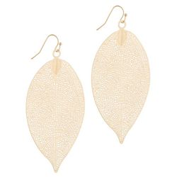 Bay Studio Goldtone Filagree Leaf Drop Earrings
