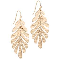 Goldtone Hammered Leaf Drop Earrings