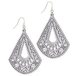 Bay Studio Silver Tone Laser Cut Triangle Drop Earrings
