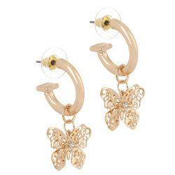 Bay Studio Gold Tone Butterfly C-Hoop Earrings