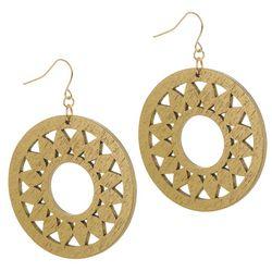Bay Studio Wooden Disc Sunburst Drop Earrings