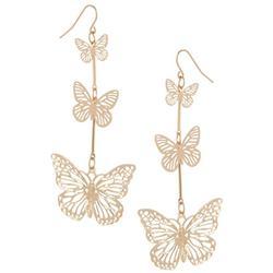 Triple Butterfly Drop Earrings