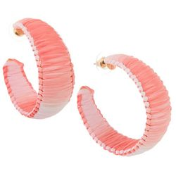 Bay Studio Coral Raffia Wrapped C-Hoop Earrings