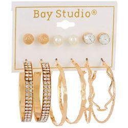 Bay Studio 6-pc Goldtone Stud and Hoop Earring Set