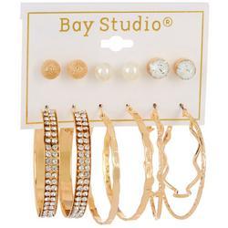 6-pc Goldtone Stud and Hoop Earring Set