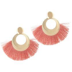 Bay Studio Coral Fringe Hoop Drop Earrings