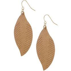 Bay Studio Goldtone Leather Feather Dangle Earrings