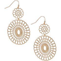 Bay Studio Goldtone Double Round  Flower Dangle Earrings