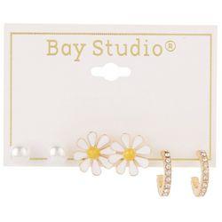 Bay Studio 3-Pc. Pearl Daisy Rhinestone Hoop Earring Set