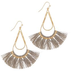 Bay Studio Goldtone Wire Fringe Accent Teardrop Earrings