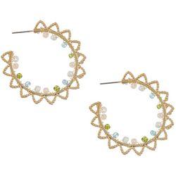 Bay Studio Textured Beaded C-Hoop Earrings