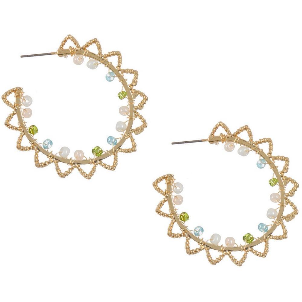 Textured Beaded C-Hoop Earrings   Bealls