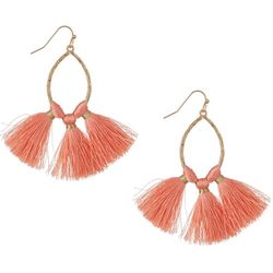 Bay Studio Goldtone Wire Fringe Accent Marquise Earrings