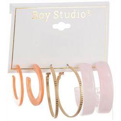 Bay Studio 3-pc. Multi Resin Hoop Earring Set