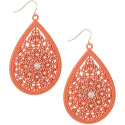 Bay Studio Coral Filagree Teardrop Drop Earrings