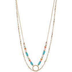 Bay Studio Gold Tone Beaded 2 Row Layered Necklace