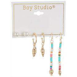 Bay Studio 3-pc. Gold Tone Bead Stud & Drop Earring Set