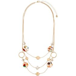 Bay Studio Gold Tone Beaded Triple Row Necklace
