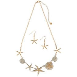 Bay Studio Two Tone Starfish & Sand Dollar Necklace Set