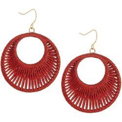 Bay Studio Red Woven Hoop Drop Earrings