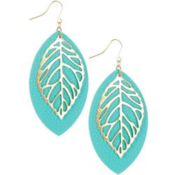 Faux Leather Layered Leaf Drop Earrings