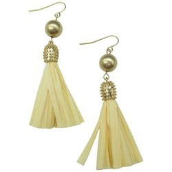 Bay Studio Gold Tone Bead & Raffia Tassel Earrings