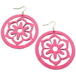 Bay Studio Lasercut Wood Flower Disc Earrings