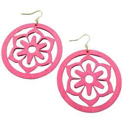 Lasercut Wood Flower Disc Earrings