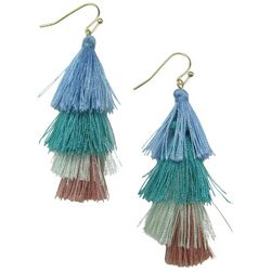Bay Studio Cool Tone Four Layer Tassel Earrings