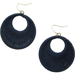 Bay Studio Navy Thread Woven Hoop Drop Earrings