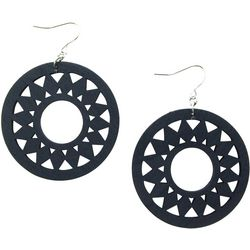 Carved Wood Disc Drop Earrings