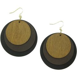 Bay Studio Triple Wood Disc Overlay Earrings