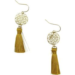 Bay Studio Worn Gold Disc & Tassel Drop Earrings