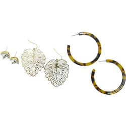 Bay Studio Trio Stud Leaf Resin Hoop Earring Set