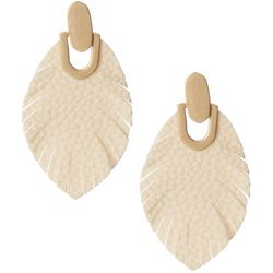 Faux Leather Feather Drop Earrings
