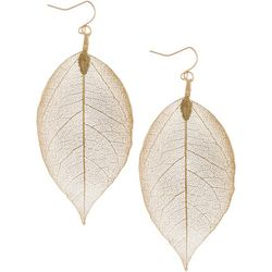 Gold Tone Long Leaf Drop Earrings