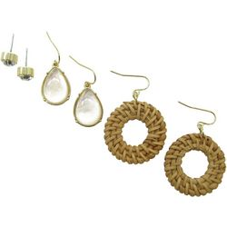 Bay Studio Trio Stud MOP Teardrop Rattan Earrings