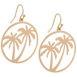 Bay Studio Gold Tone Palm Tree Disc Drop Earrings
