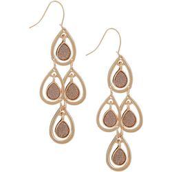 Bay Studio Rose Gold Tone Glitter Kite Teardrop Earrings