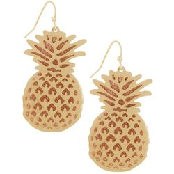 Bay Studio Gold Tone Pineapple Sparkle Dangle Earrings