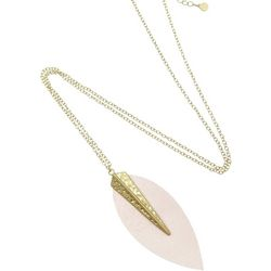 Bay Studio Long Pink Faux Leather Pendant Necklace
