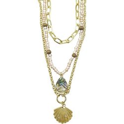 Bay Studio 3 Row Layered Shell & Teardrop Necklace