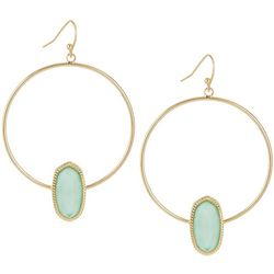 Bay Studio Turquoise Green Oval Gold Tone Hoop Earrings