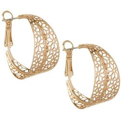 Flower Filigree Gold Tone Hoop Earrings