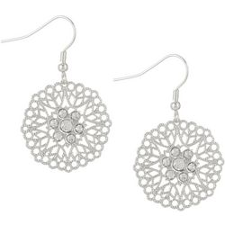 Bay Studio Silver Tone Filigree Disc & Rhinestone Earrings