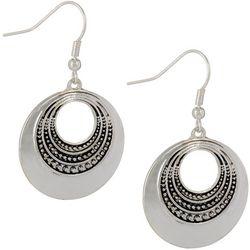 Silver Tone Disc Drop Earrings