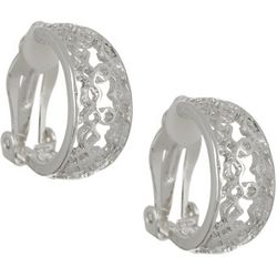 Bay Studio Silver Tone Filigree Clip On Hoop Earrings