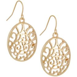 Bay Studio Gold Tone Filigree Oval Drop Earrings
